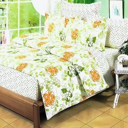 [Summer Leaf] 100% Cotton 4PC Comforter Set (Twin Size)