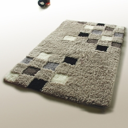 Naomi - [Grid] Wool Throw Rugs (17.7 by 25.6 inches)