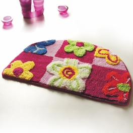 [Red / Pink Flowers] Kids Room Rugs (15.7 by 24.8 inches)