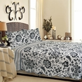 [Black Flower] 100% Cotton 3PC Classic Floral Vermicelli-Quilted Quilt Set (Full/Queen Size)