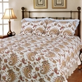 [Wonderful Life] 100% Cotton 3PC Classic Floral Vermicelli-Quilted Quilt Set (King Size)
