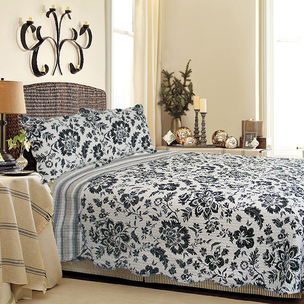 Black flower 100 cotton 3pc classic floral vermicelli quilted black flower 100 cotton 3pc classic floral vermicelli quilted quilt set fullqueen size mightylinksfo