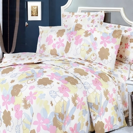 [Pink Brown Flowers] 100% Cotton 5PC Comforter Set (Queen Size)