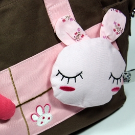 [Rabbit & Carrot] 100% Cotton Canvas Shoulder Bag / Swingpack / Travel Bag