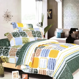 [Green Blocks] 100% Cotton 3PC Duvet Cover set (Twin Size)