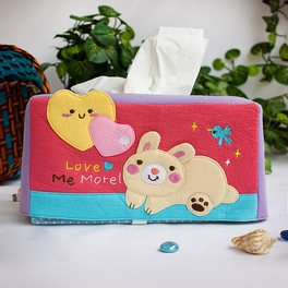 [Rabbit & Heart] Embroidered Applique Fabric Art Tissue Box Cover Holder (8.7*4.5*4.5)