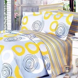 [Yellow Whirl] 100% Cotton 5PC Comforter Set (Queen Size)