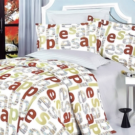 [Apple Letter] 100% Cotton 5PC Comforter Set (King Size)