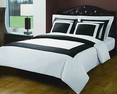 King/Calking White/Black Hotel 5-PC Duvet cover set