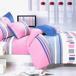 [Pink Abstract] 100% Cotton 5PC Comforter Set (King Size)