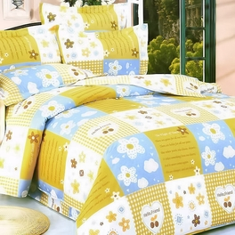 [Yellow Countryside] 100% Cotton 4PC Comforter Set (Twin Size)