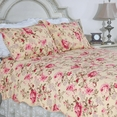 [Blooming Peony] 100% Cotton 3PC Classic Floral Vermicelli-Quilted Quilt Set (Full/Queen Size)