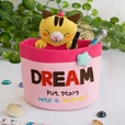 [Cat & Stars] Embroidered Applique Wall Organizer / Hanging Organizer / Storage Box (6*7*3.5)