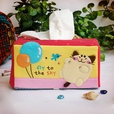 [Cat & Balloon] Embroidered Applique Fabric Art Tissue Box Cover Holder (8.7*4.5*4.5)