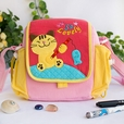 [Kitty Loves Fish] Embroidered Applique Kids Kitty Shoulder Bag / Swingpack / Travel Bag (7.3*7*2.4)