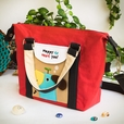 [Blue Puppy - Red] Embroidered Applique Duffle Tote Bag / Shoulder Bag / Travel Bag (9.6*9.3*4.1)