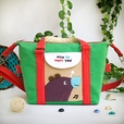 [Purple Bear - Green] Embroidered Applique Duffle Tote Bag / Shoulder Bag / Travel Bag (9.6*9.3*4.1)