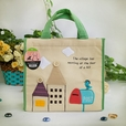[Bird On Postbox] Embroidered Applique Fabric Art Lunch Tote / Lunch Box Bag (8.7*8*4.4)