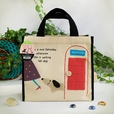 [Dog At Phone Booth] Embroidered Applique Fabric Art Lunch Tote / Lunch Box Bag (8.7*8*4.4)