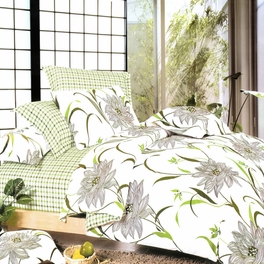 [Green Lotus] 100% Cotton 5PC Bed In A Bag (Twin Size)