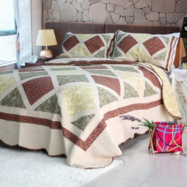 [Cerelia] Cotton 3PC Floral Vermicelli-Quilted Printed Quilt Set (Full/Queen Size)