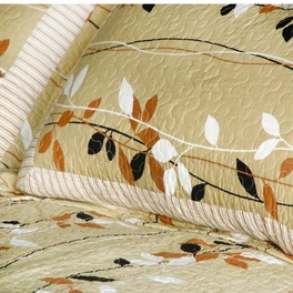 [Dancing Branch] Cotton 3PC Floral Vermicelli-Quilted Printed Quilt Set (Full/Queen Size)