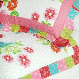 [Zinia] Cotton 3PC Floral Vermicelli-Quilted Printed Quilt Set (Full/Queen Size)