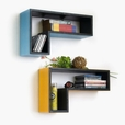 Trista - [Turquoise Blue] Gun-Shaped Wall Shelf / Bookshelf / Floating Shelf (Set of 2)
