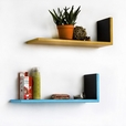 Trista - [Round Dot] Yellow & Blue L-Shaped Leather Shelf / Bookshelf / Floating Shelf (Set of 2)