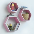 Trista - [Pink Beige Stripe] Hexagon Leather Wall Shelf / Bookshelf / Floating Shelf (Set of 3)