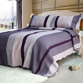 [Purple Charm] Cotton 3PC Striped Vermicelli-Quilted Printed Quilt Set (Full/Queen Size)