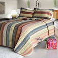 [Enthusiasm Desert-2] Cotton 3PC Vermicelli-Quilted Striped Printed Quilt Set (Full/Queen Size)