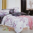 [Plum in Snow] 100% Cotton 4PC Comforter Cover/Duvet Cover Combo (Full Size)
