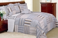 [Kevin] 100% Cotton 3PC Vermicelli-Quilted Striped Patchwork Quilt Set (King Size)