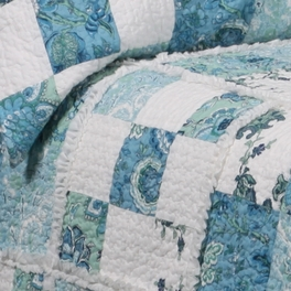 [Calypso] 100% Cotton 2PC Floral Vermicelli-Quilted Patchwork Quilt Set (Twin Size)