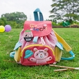 [Pink Rabbit] Embroidered Applique Kids Fabric Art School Backpack / Outdoor Backpack (8.7*10.2*4.3)