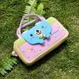 [Sweet Bear] Embroidered Applique Kids Mini Handbag / Cosmetic Bag / Travel Wallet (7.8*5.5*1.4)