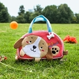 [Dog Loves Bone] Embroidered Applique Kids Mini Handbag / Cosmetic Bag / Travel Wallet (7.1*4.3*2)