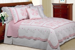 [Daisy Field] 100% Cotton 2PC Floral Vermicelli-Quilted Embroidered Patchwork Quilt Set (Twin Size)