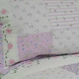 [Love of Lilac] 100% Cotton 2PC Floral Vermicelli-Quilted Embroidered Patchwork Quilt Set (Twin Size)
