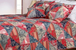 [Red Rose Garden] 100% Cotton 2PC Floral Vermicelli-Quilted Patchwork Quilt Set (Twin Size)