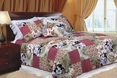 [Julie's Garden] 100% Cotton 2PC Floral Vermicelli-Quilted Patchwork Quilt Set (Twin Size)