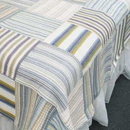 [Kevin] 100% Cotton 2PC Vermicelli-Quilted Striped Patchwork Quilt Set (Twin Size)