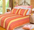 [Summer Paradise] 100% Cotton 2PC Vermicelli-Quilted Striped Patchwork Quilt Set (Twin Size)