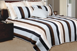[Nathan] 100% Cotton 2PC Vermicelli-Quilted Striped Patchwork Quilt Set (Twin Size)