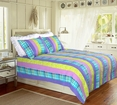 [Panama Island] 100% Cotton 2PC Vermicelli-Quilted Striped Patchwork Quilt Set (Twin Size)