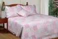 [May Flowers] 100% Cotton 3PC Floral Vermicelli-Quilted Patchwork Quilt Set (King Size)