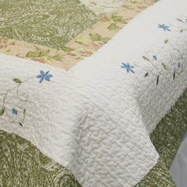 [Laura] 100% Cotton 2PC Floral Vermicelli-Quilted Embroidered Patchwork Quilt Set (Twin Size)
