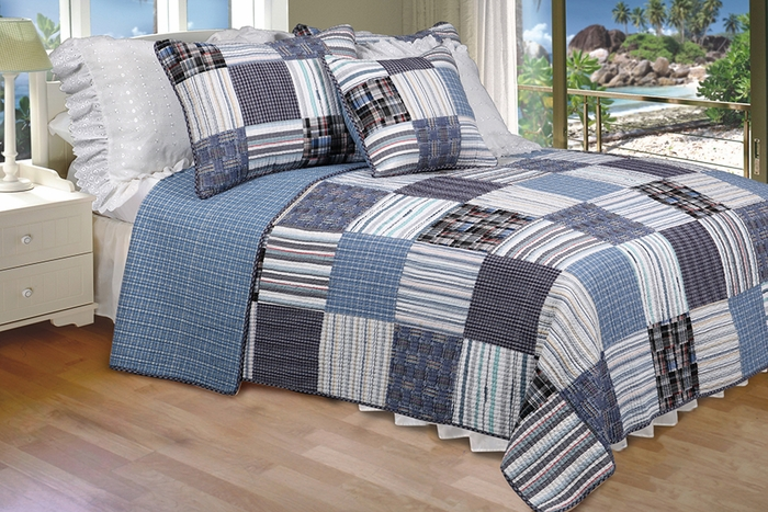 Great [Daniel] 100% Cotton 3PC Vermicelli Quilted Striped Patchwork Quilt Set  (King Size)