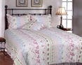 [Pink Rosary] 100% Cotton 2PC Classic Floral Vermicelli-Quilted Quilt Set (Twin Size)